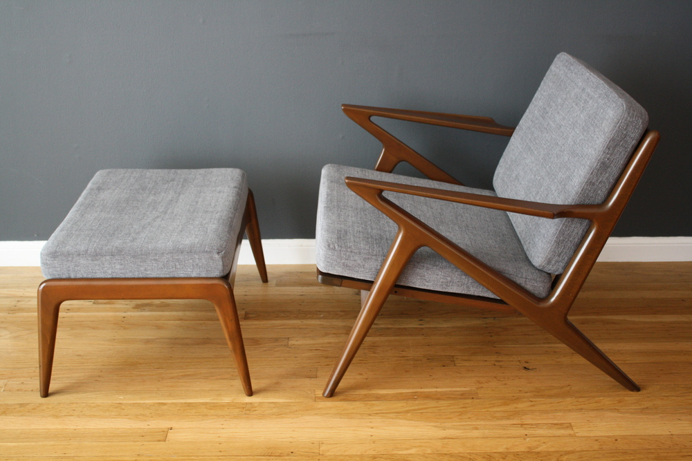 "Copy of Vintage Mid-Century ""Z"" Chair with Ottoman by Poul Jensen"