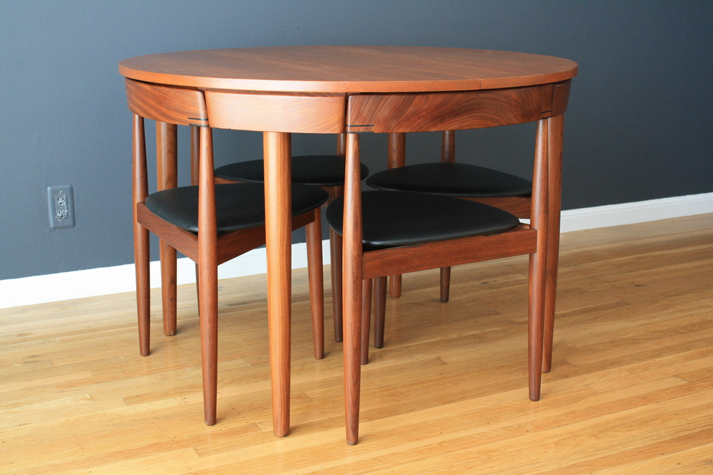 Vintage Dining Table with Four Chairs by Hans Olsen