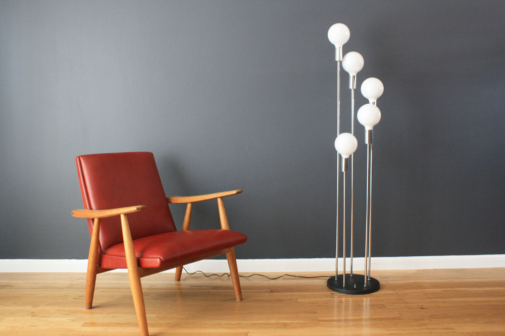 Copy of Danish Modern Hans Wegner Lounge Chair & Vintage Mid-Century Floor Lamp