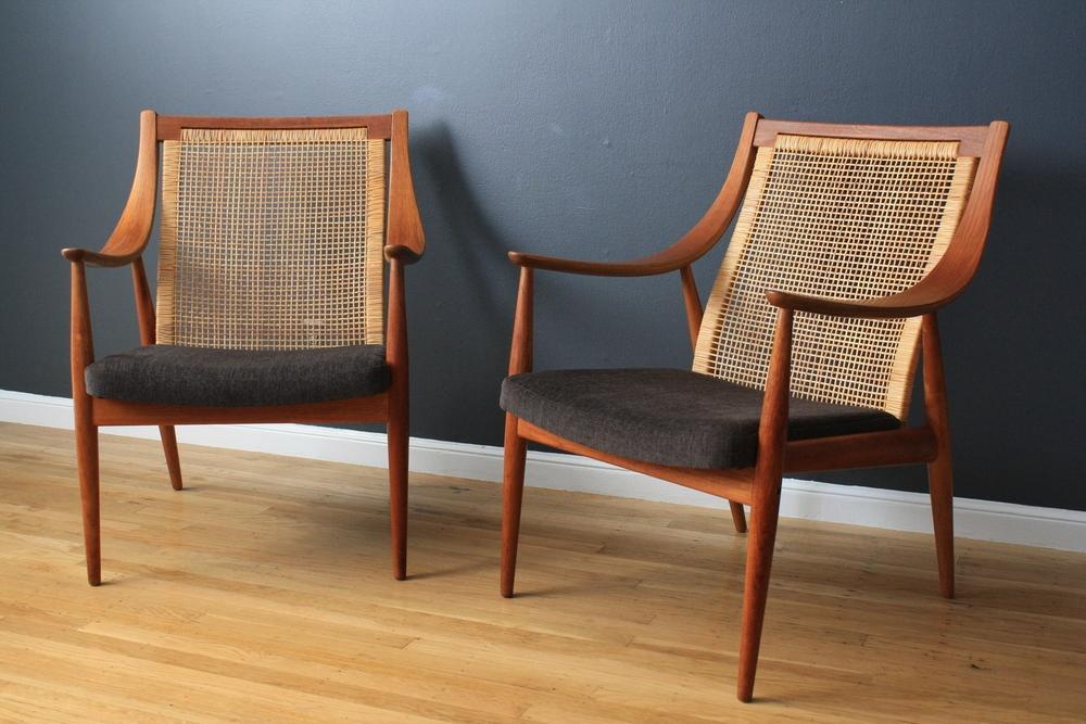 Pair of Vintage Peter Hvidt Lounge Chairs