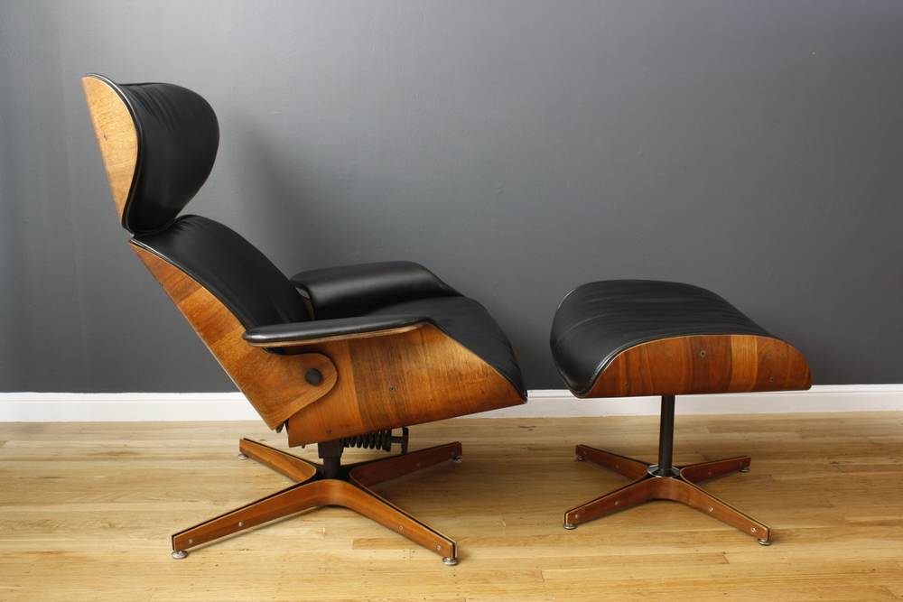 Vintage Mid-Century Plycraft Recliner and Ottoman