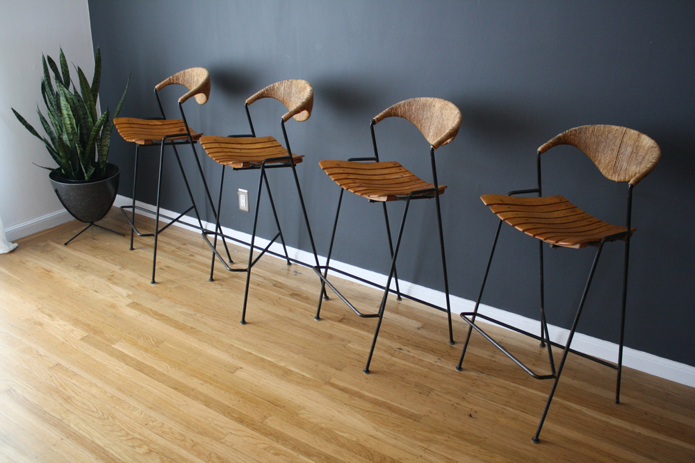 Set of Four Vintage Mid-Century Bar Stools by Arthur Umanoff