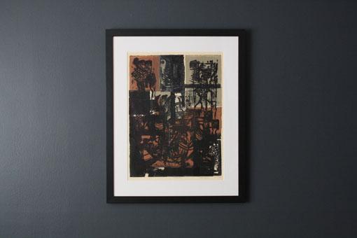 "Vintage Serigraph Print by Ruth Meyers, 8/15 ""Melanesia"" 12-65"