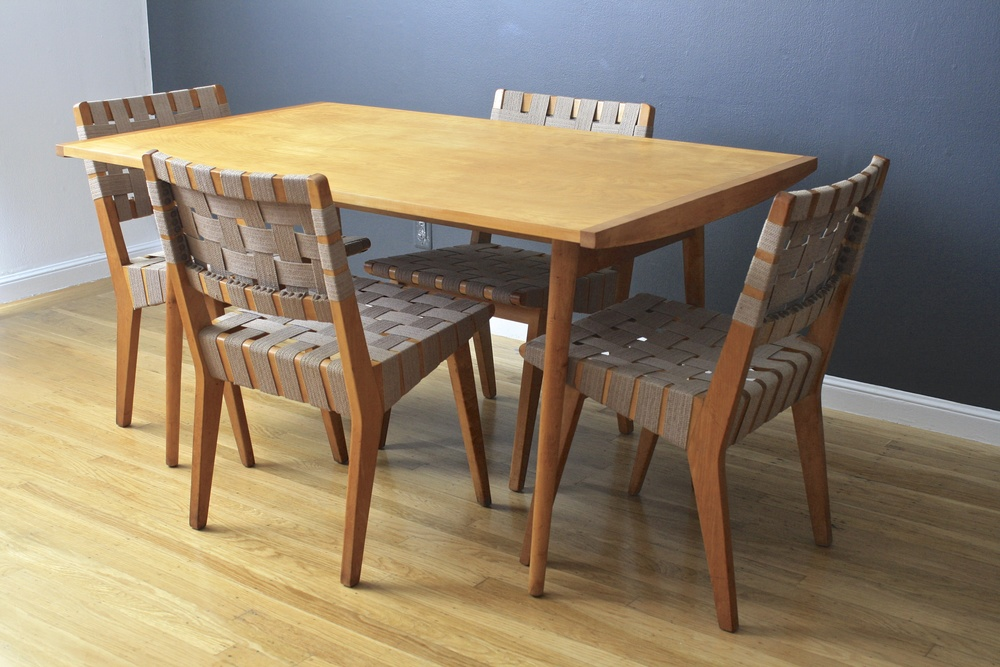 Vintage Dining Table by George Nakashima for Knoll with Vintage Knoll Chairs