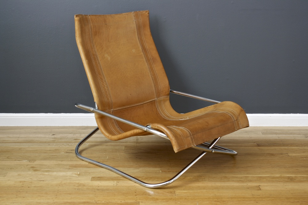 Vintage Mid-Century Uchida Leather Lounge Chair