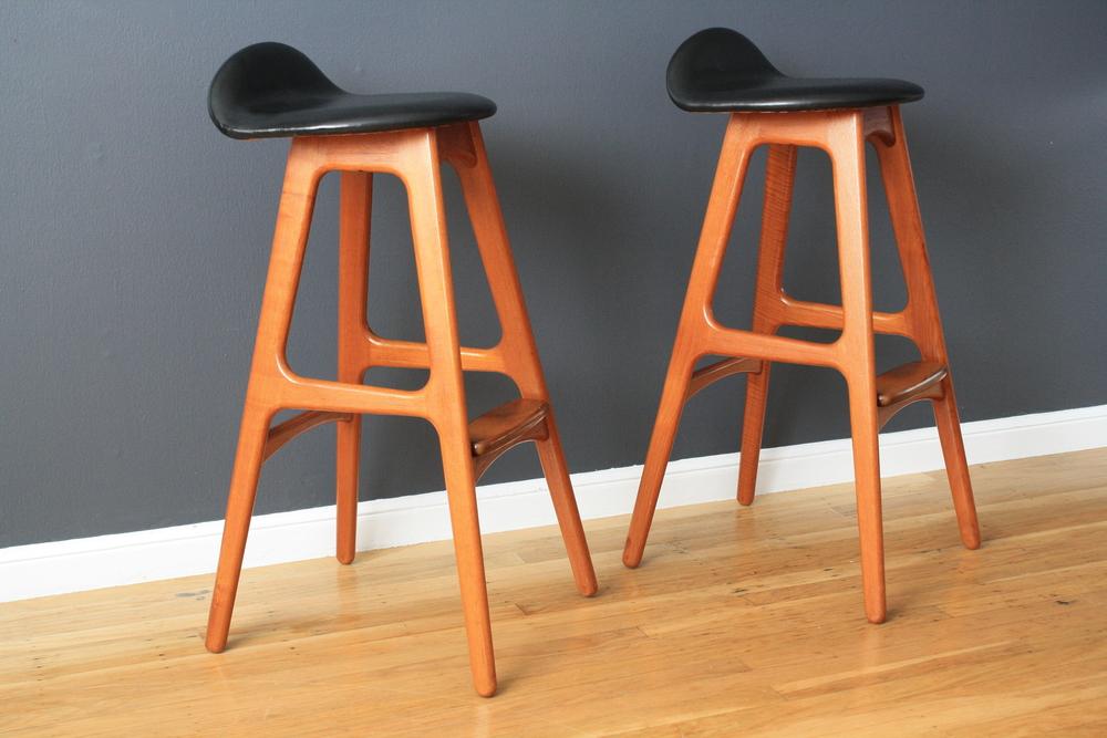 Pair of Danish Modern Bar Stools by Eric Buck