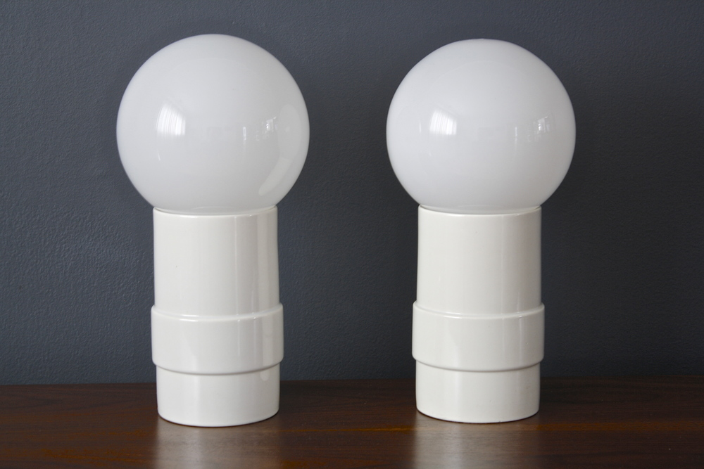 Pair of Mid-Century Modern Ceramic Globe Table Lamps