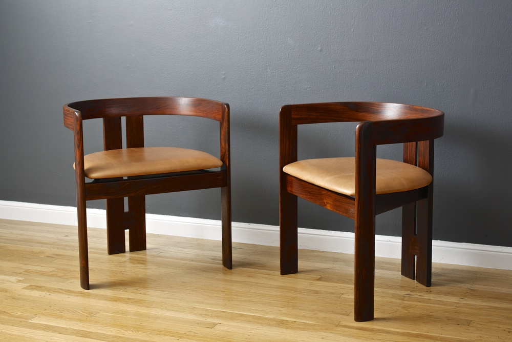 Pair of Rosewood Chairs by Afra and Tobia Scarpa for Gavina, Italy