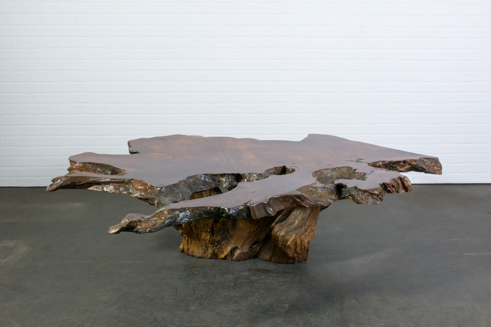 Vintage Burl Wood Slab Coffee Table