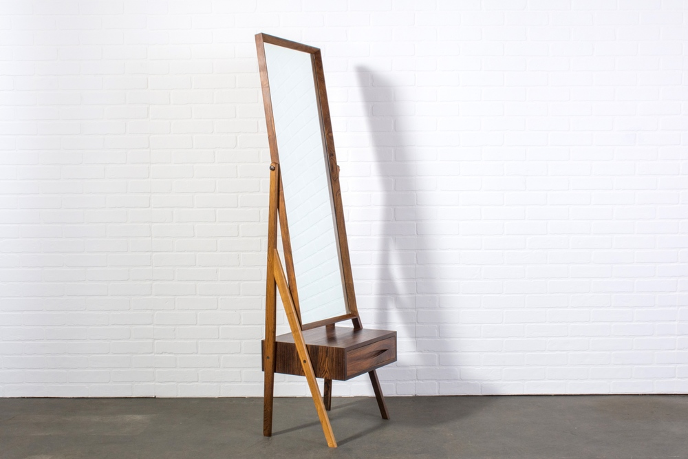 Danish Modern Rosewood Standing Mirror with Drawer