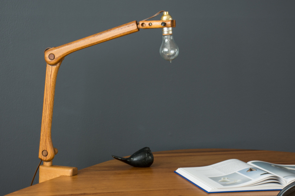 Vintage Oak Articulated Task Lamp with Clamp