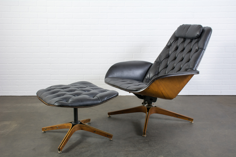 Mid-Century Modern Lounge Chair and Ottoman by George Mulhauser for Plycraft