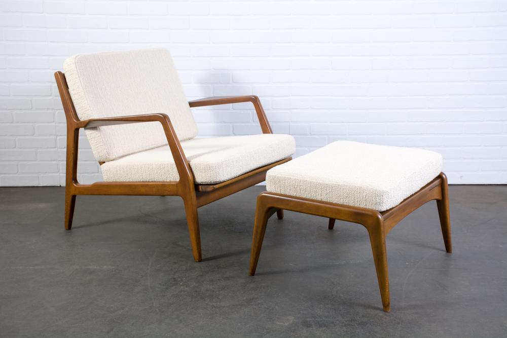 Danish Modern Lounge Chair and Ottoman by Ib Kofod Larsen