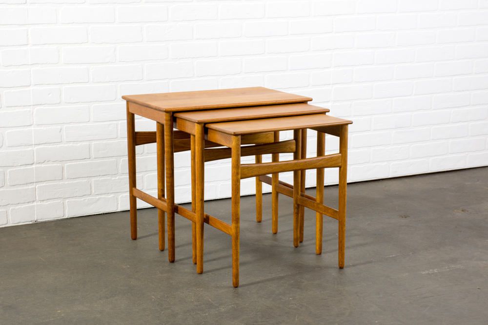 Set of Three Danish Modern Nesting Tables by Hans Wegner
