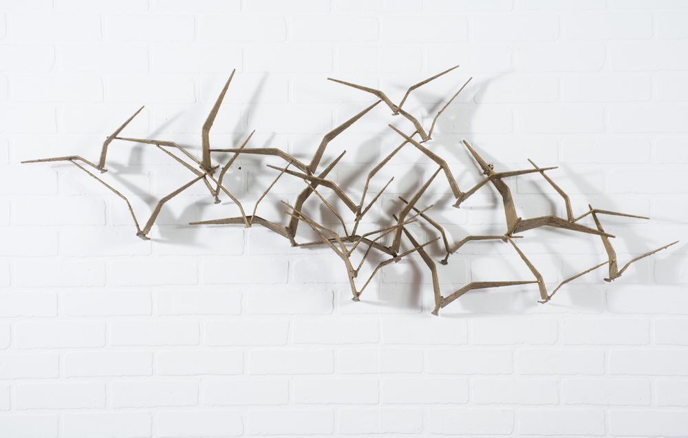Vintage Gold Brutalist 'Birds in Flight' Wall Sculpture by Curtis Jere