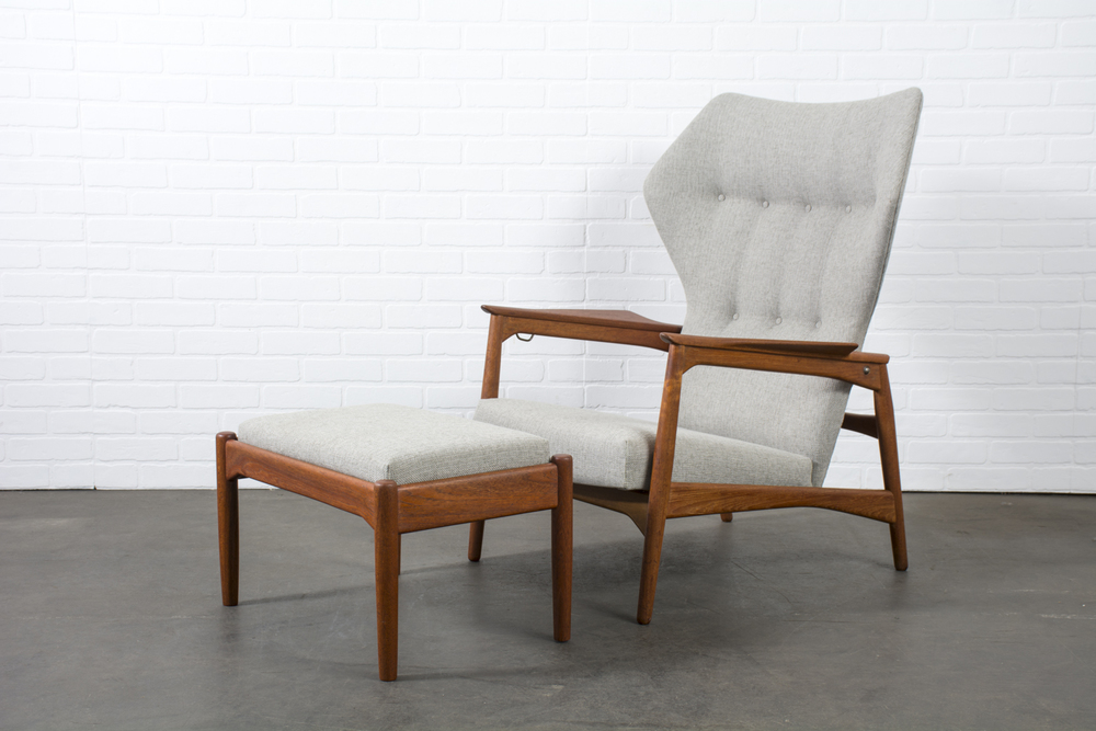 Copy of Danish Modern Lounge Chair and Ottoman by Ib Kofod-Larsen for Carlo Gahrn