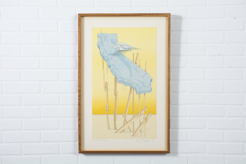 Copy of 'Support California' Framed Lithograph by William Crutchfield, 1973