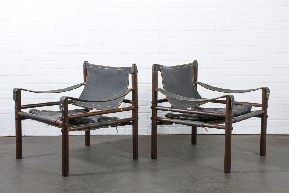 Pair of Rosewood 'Sirocco' Safari Chairs by Arne Norell