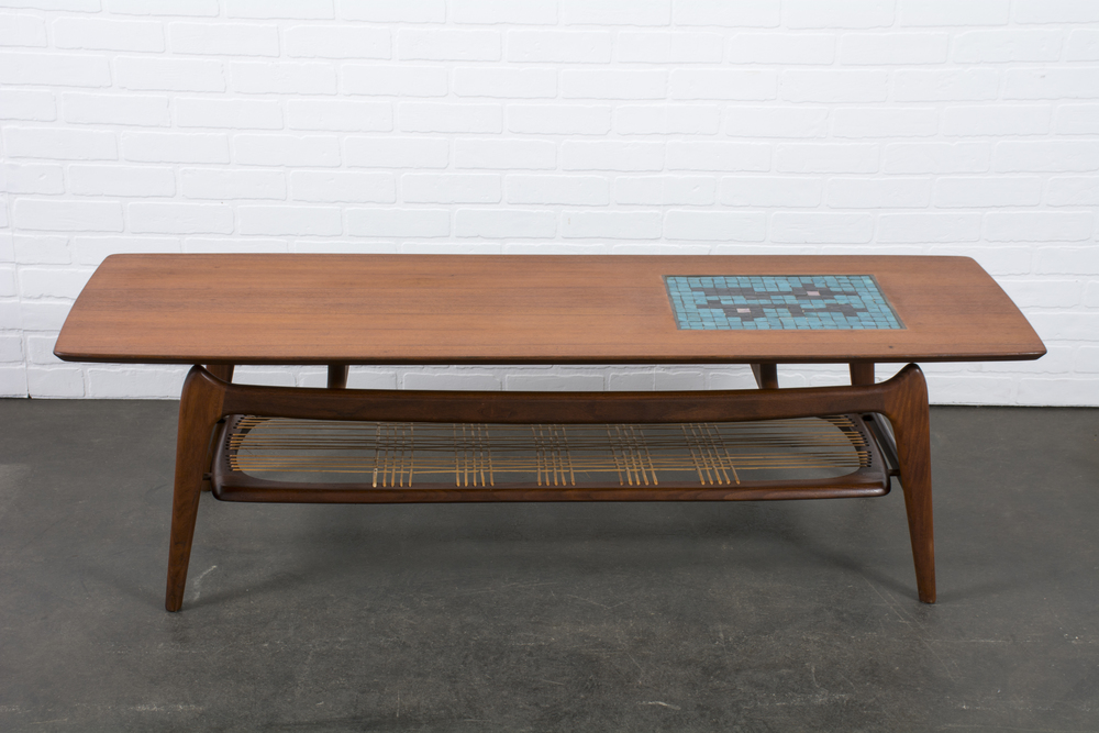Copy of Vintage Mid-Century Coffee Table with Tile Inlay by Louis van Teeffelen