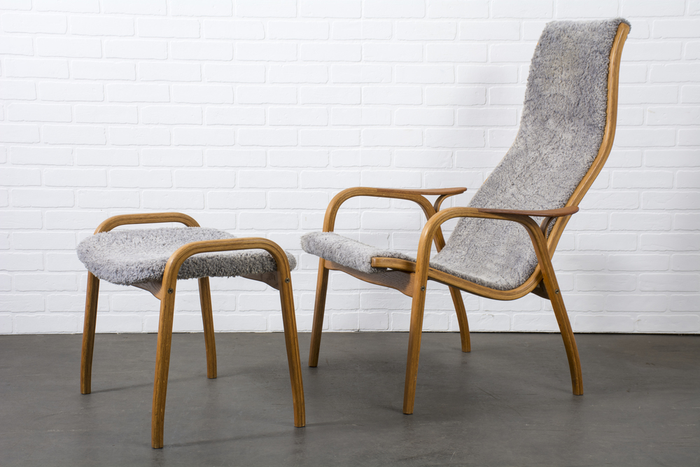 Yngve Ekström Lamino Chair and Ottoman for Swedese Mobler