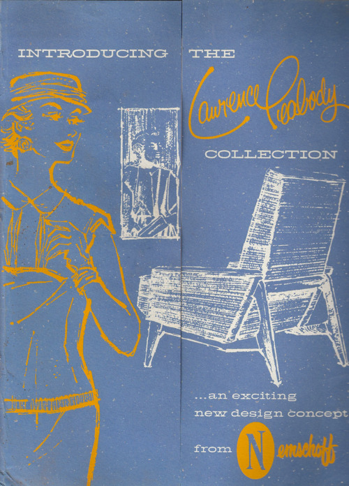 Booklet containing 'selling aides' such as press releases, photos, and a price list for the Lawrence Peabody Collection from Nemschoff. Sketch is of the '911 Chair'. Photo credit: lawrencepeabodytumblr.com