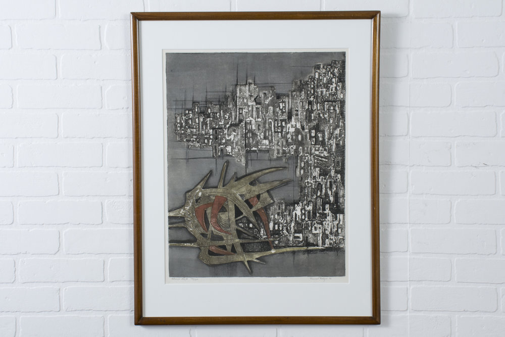 Copy of Vintage Lithograph, 'Destroyed City II' 149/210 by Ru Van Rossem