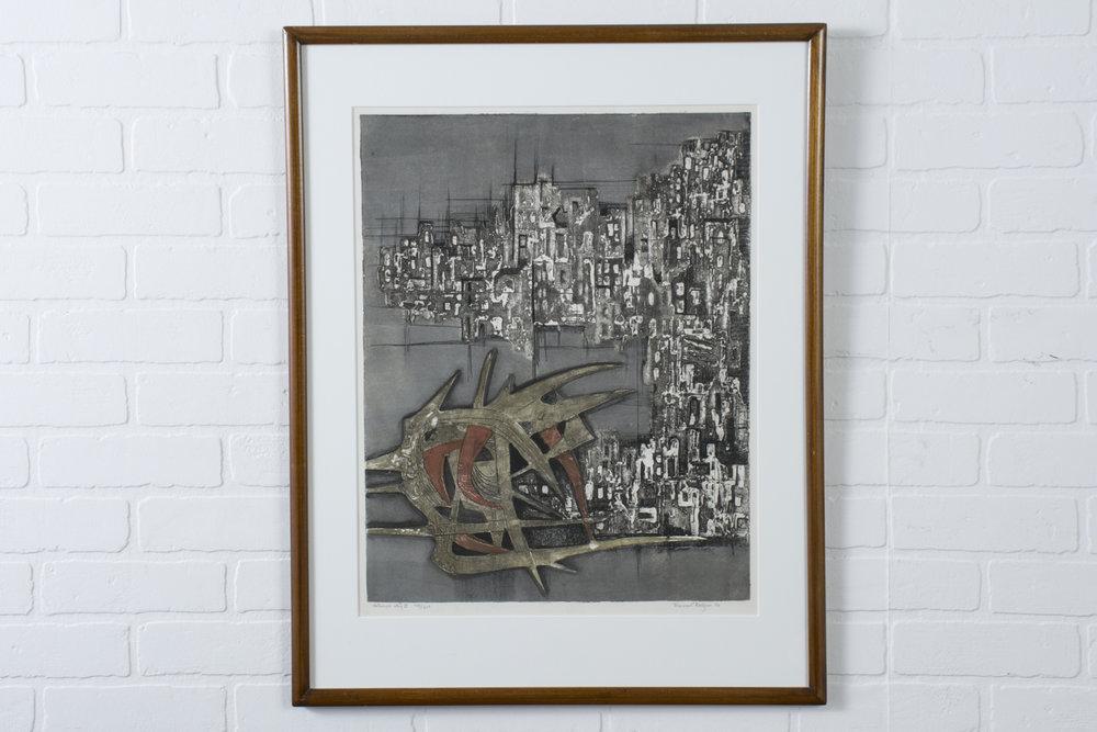 Vintage Lithograph, 'Destroyed City II' 149/210 by Ru Van Rossem
