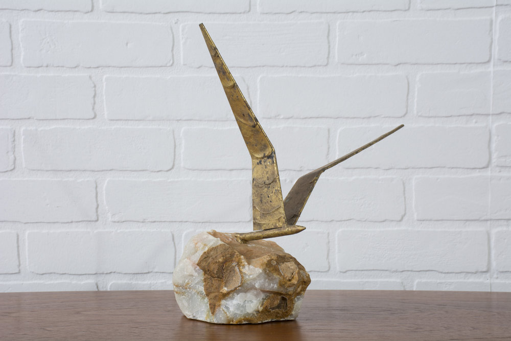 Vintage Bird in Flight Sculpture on White Onyx Stone by Curtis Jere