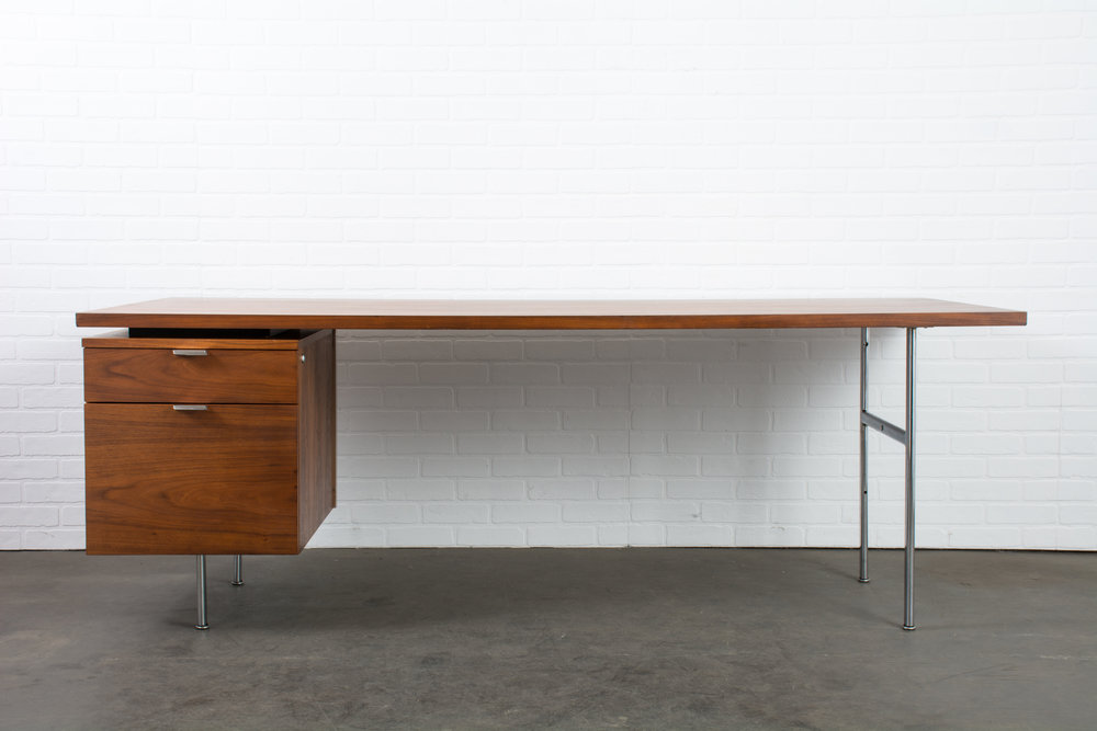 Vintage Mid-Century Single Pedestal Desk by George Nelson