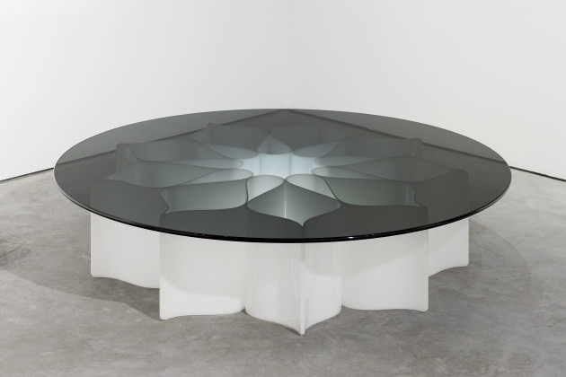 The Élysée light table by Pierre Paulin for Alpha International was originally commissioned by Mobilier National for the Palais L'Élysée in 1971. Fewer than fifteen of these tables were produced. Photo Credit: Paulin Paulin Paulin | Top: Furniture designed for the Élysée Palace | Photo credits: huntingforgeorge.com (top left), Wright Auction (top middle), culturedmag.com (top right)