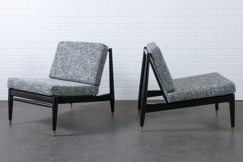 Pair of Vintage Mid-Century Slipper Chairs