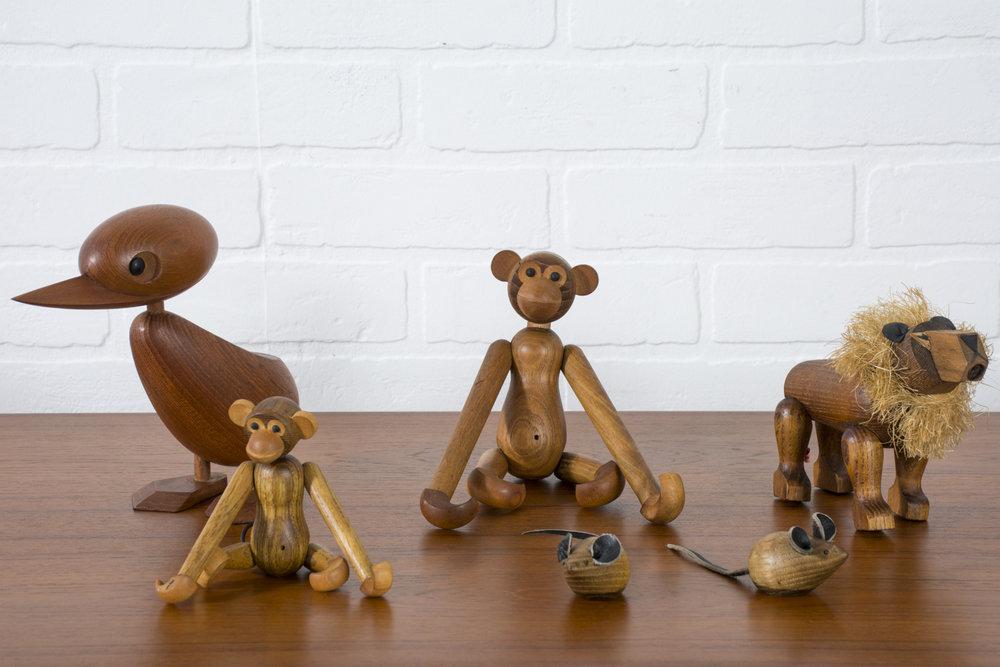 Set of Six Vintage Mid-Century Wood Animal Toys