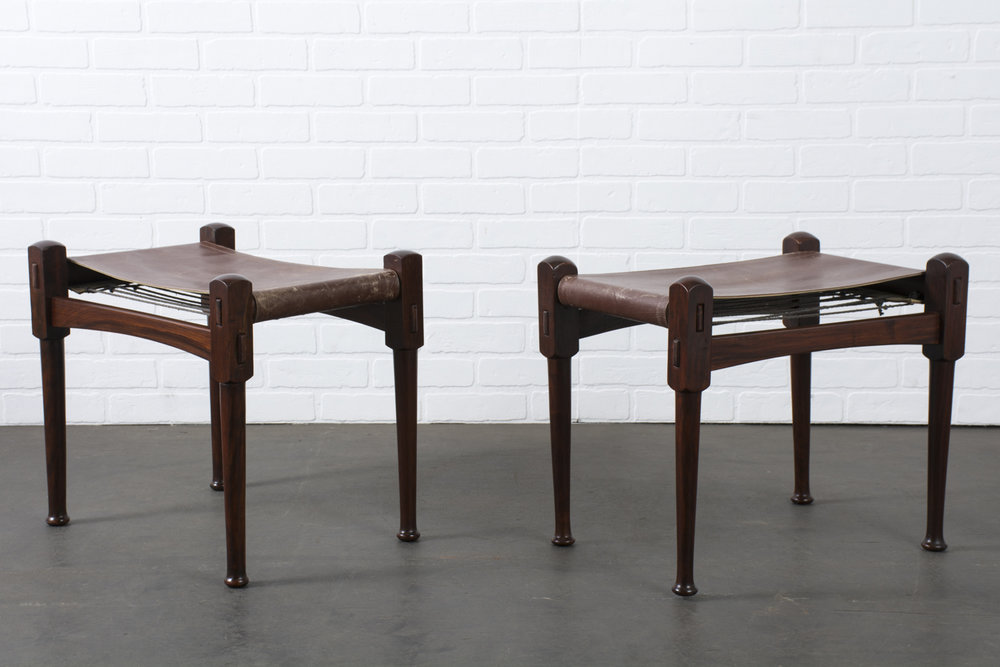 Pair of Vintage Rosewood Safari Stools