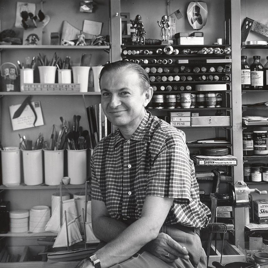 Alexander Girard in his home studio in 1948 in Gross Pointe Michigan. Photo: Charles Eames | Vitra Design Museum | Alexander Girard Estate