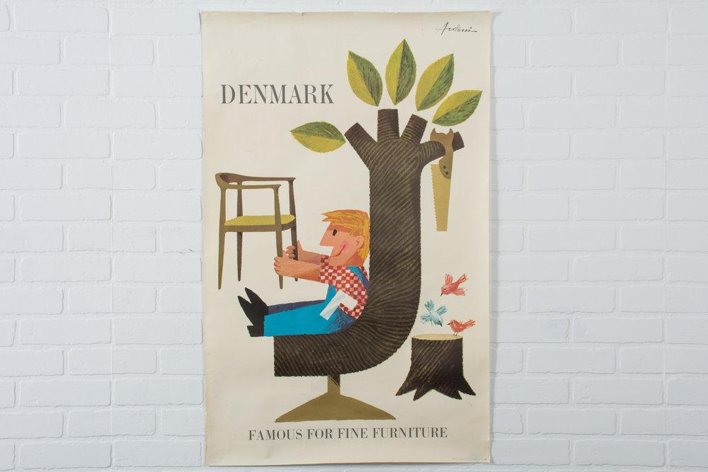 Vintage Mid-Century Danish Poster by Ib Antoni