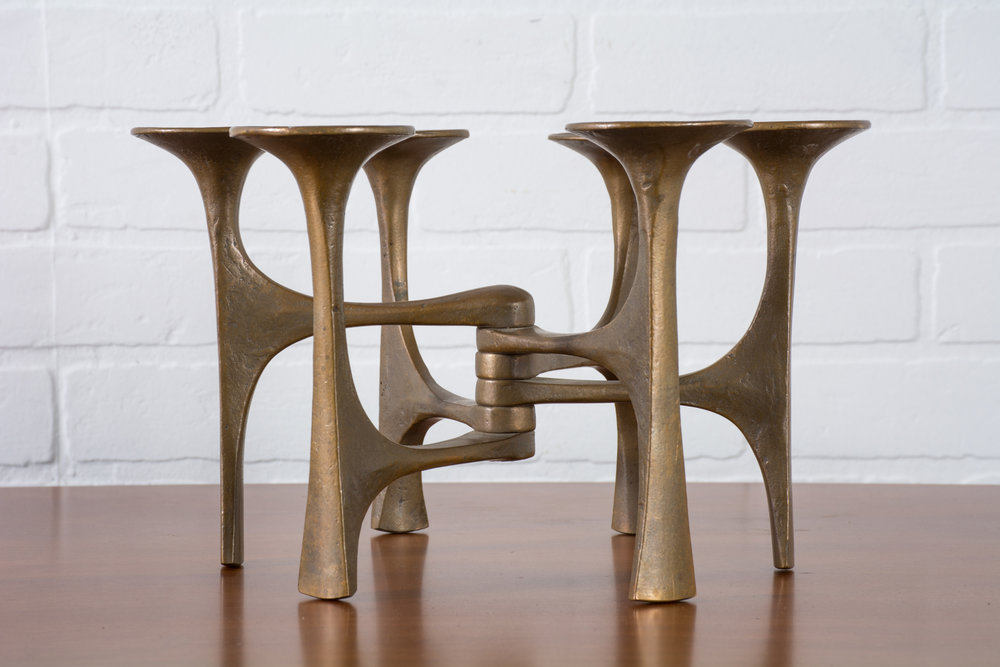 Mid-Century Brutalist Bronze Candle Holder by Michael Harjes