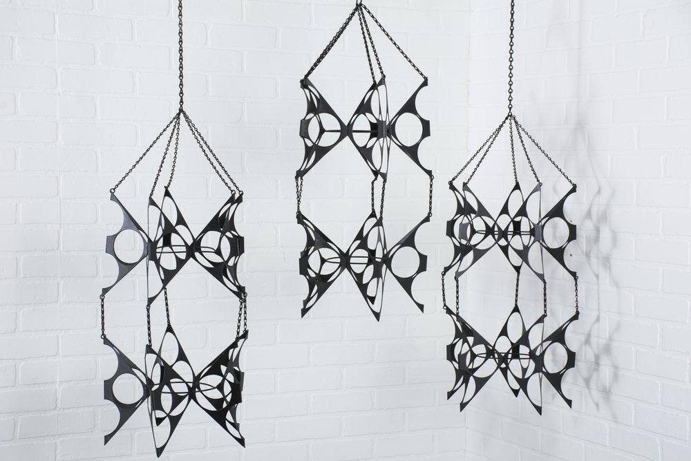 Copy of Set of Three Vintage Mid-Century Black Hanging Plant Holders