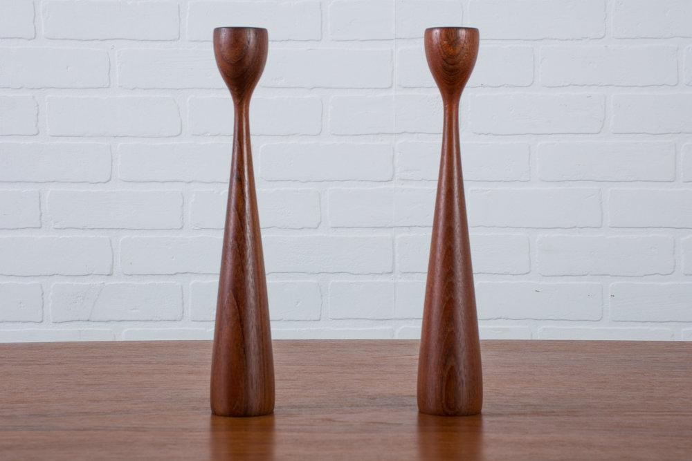 Pair of Mid-Century Modern Teak Candlesticks