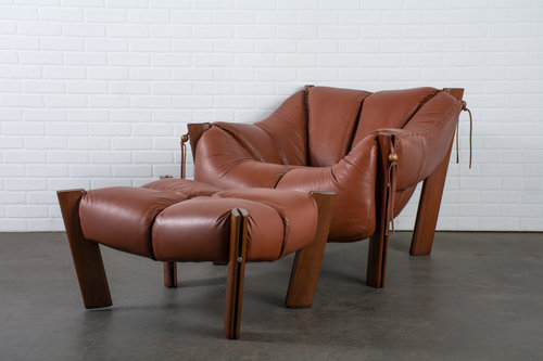 brazilian modern leather lounge chair and ottoman by percival lafer