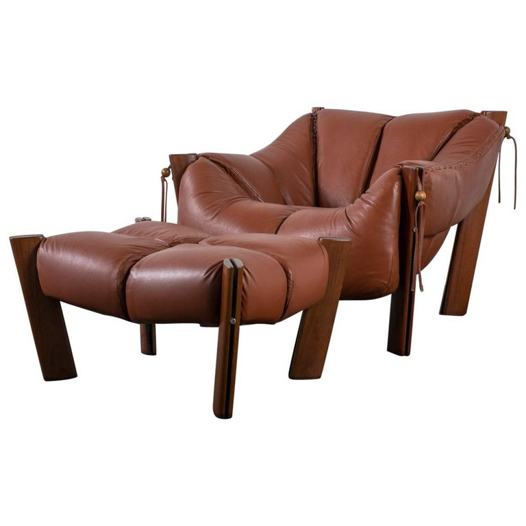 Delicieux Brazilian Modern Leather Lounge Chair And Ottoman By Percival Lafer