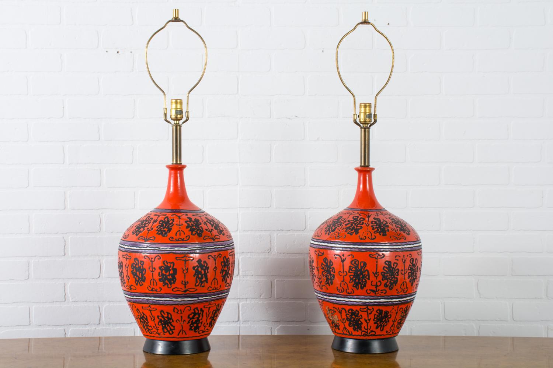 Pair Of Raymor Ceramic Table Lamps Italy Mid Century