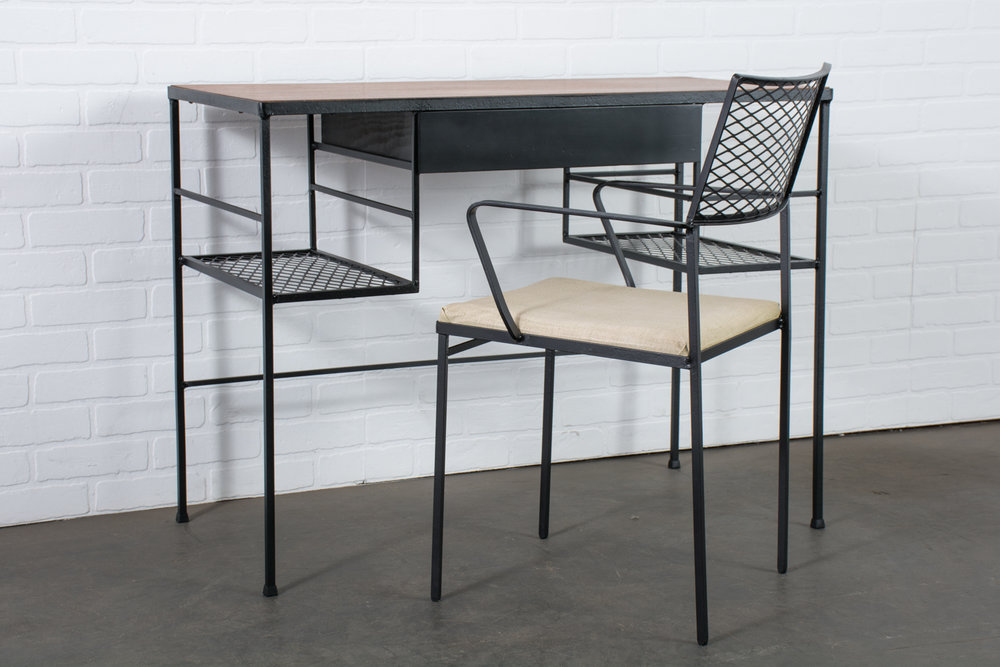 Arbuck Walnut And Wrought Iron Desk And Chair Set, 1950s