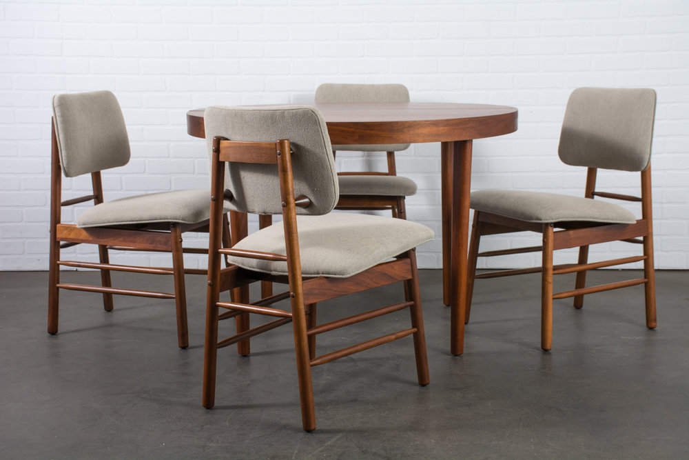 Copy of Greta Grossman Walnut Dining Table and Four Chairs