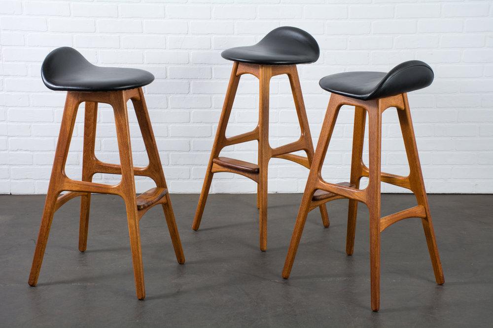 Danish Modern Bar Stools by Erick Buch