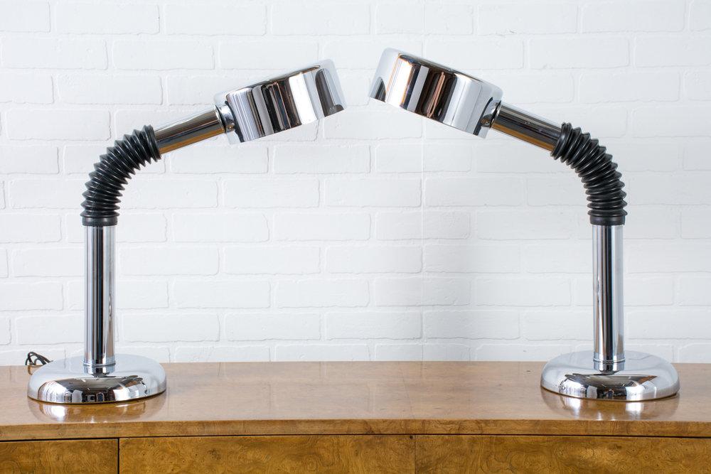 Pair of Mid-Century Modern Chrome Gooseneck Lamps