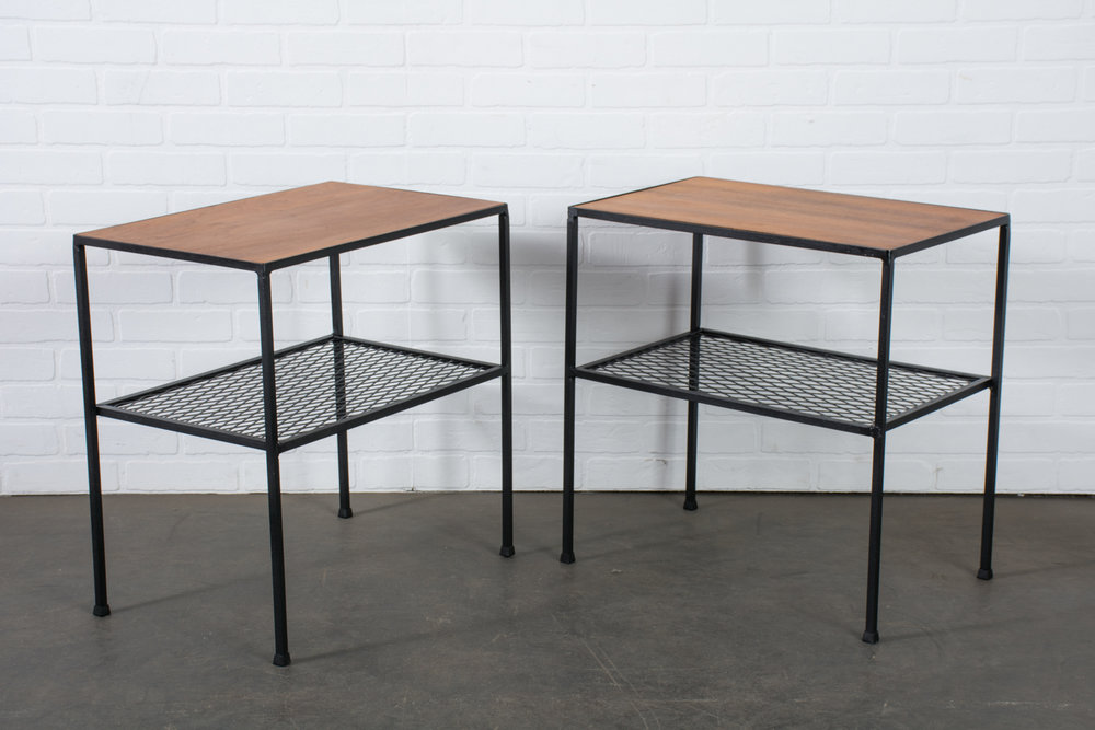 Copy of Vintage Mid-Century Arbuck Wrought Iron and Walnut Side Tables