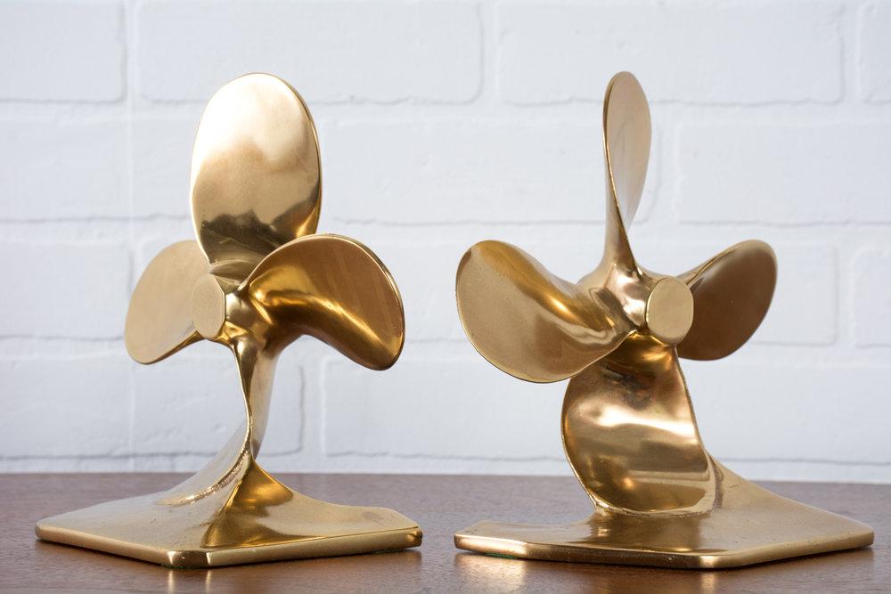 Vintage Brass Propeller Bookends