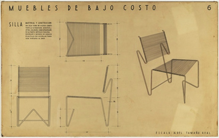 Clara Porset's entry for a MoMA international design competition for low cost furniture, circa 1950, Photo credit: cubamaterial.com