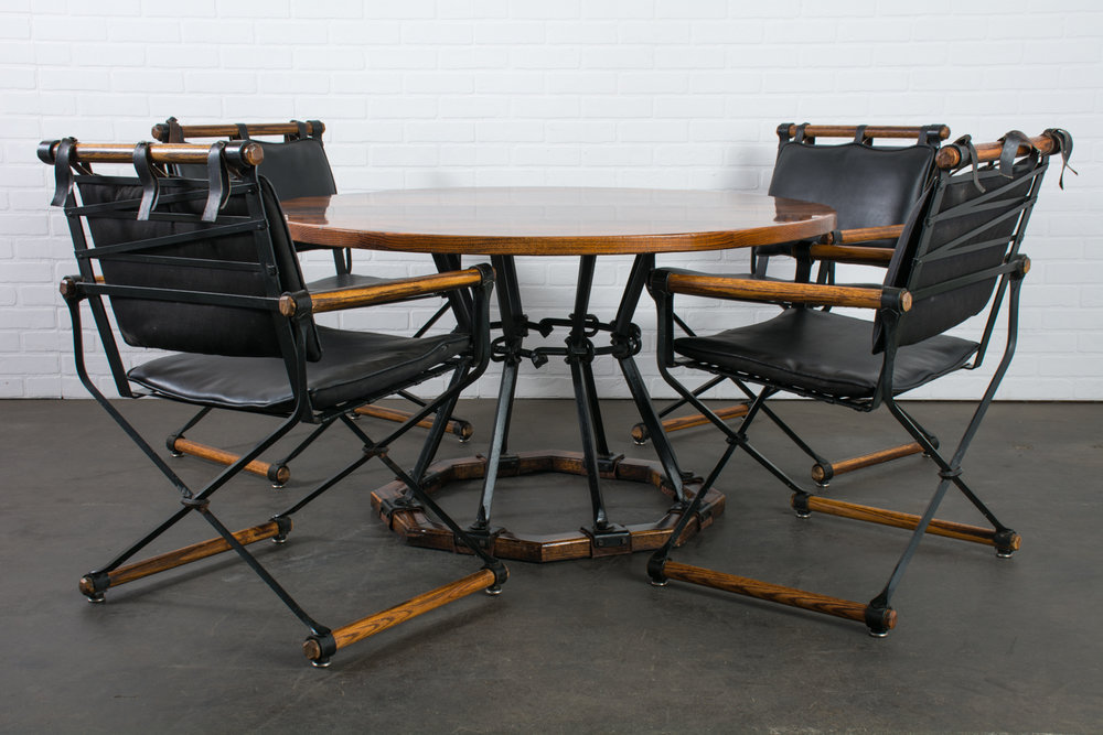 Copy of Cleo Baldon Wrought Iron and Oak Dining Table and Four Armchairs, 1960s
