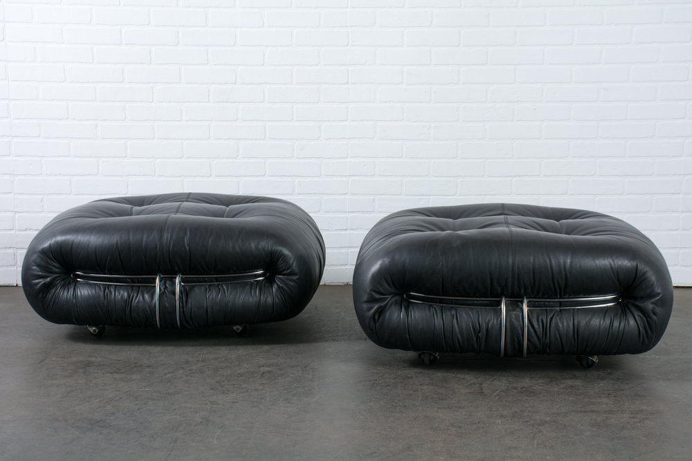 Copy of Afra and Tobia Scarpa for Cassina Black Leather Ottomans, Italy, 1970s